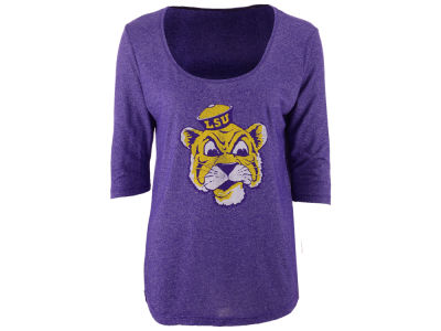 LSU Tigers Retro Brand NCAA Women's Scoop 3/4 Sleeve T-Shirt