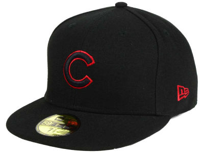 Chicago Cubs New Era MLB Black on Red 59FIFTY Cap