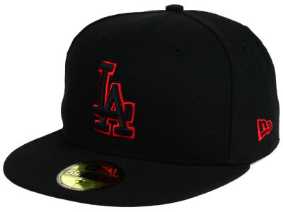 Los Angeles Dodgers New Era MLB Black on Red 59FIFTY Cap