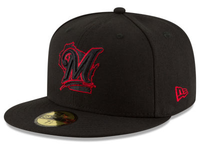 Milwaukee Brewers New Era MLB Black on Red 59FIFTY Cap