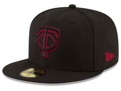 Minnesota Twins New Era MLB Black on Red 59FIFTY Cap