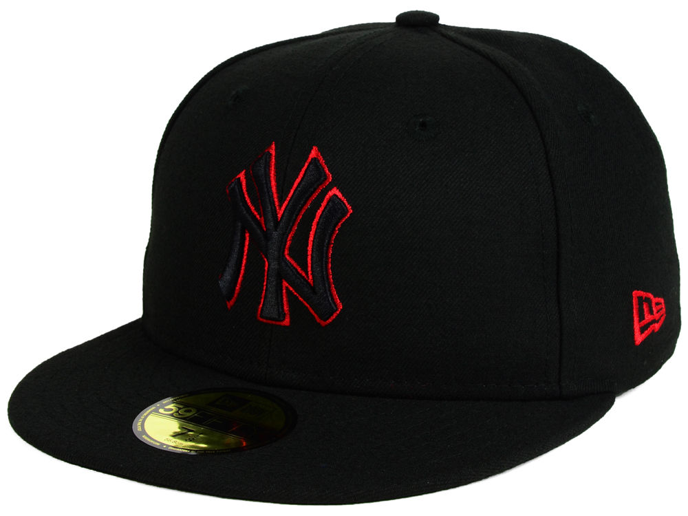 New York Yankees New Era MLB Black on Red 59FIFTY Cap  c4cb2ad9f30