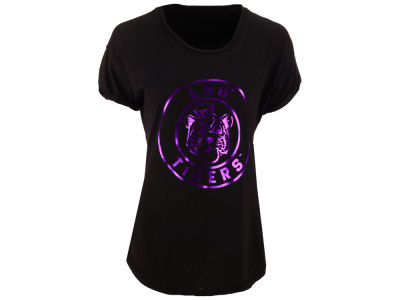 LSU Tigers Retro Brand NCAA Women's Rolled Sleeve Foil T-Shirt