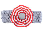 Ohio State Buckeyes Crocheted Headband with Stripe Rosette Headbands & Wristbands