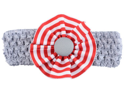 Ohio State Buckeyes Crocheted Headband with Stripe Rosette