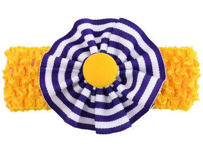 LSU Tigers Crocheted Headband with Stripe Rosette