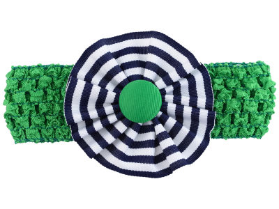 Crocheted Headband with Stripe Rosette