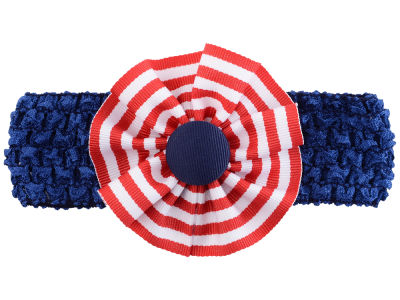 Ole Miss Rebels Crocheted Headband with Stripe Rosette
