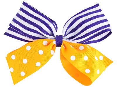 LSU Tigers Polka Dot/Stripe Combo Bow