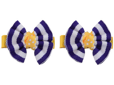 LSU Tigers Clip Pair Ruffled Stripe