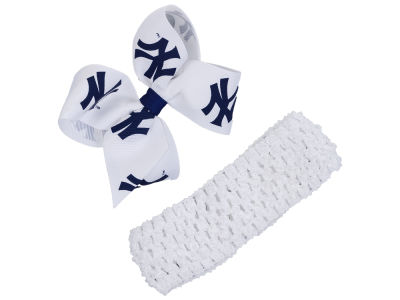 New York Yankees Crocheted Headband With Jr Bow