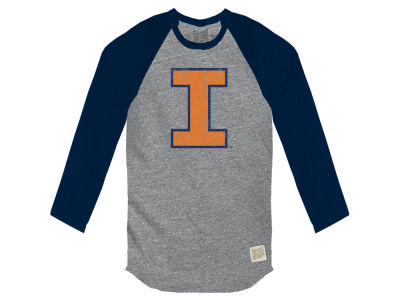 Illinois Fighting Illini Retro Brand NCAA Men's Color Block Long Sleeve T-Shirt