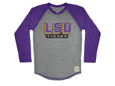 LSU Tigers Retro Brand NCAA Men's Color Block Long Sleeve T-Shirt