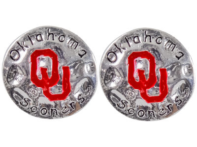Oklahoma Sooners Hammered Disk Earrings