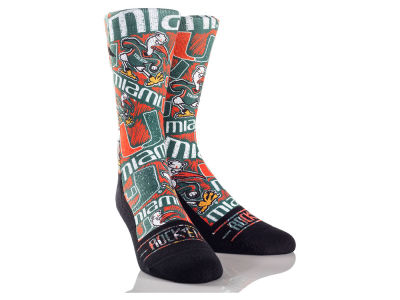 Miami Hurricanes Rock 'Em Logo Sketch Socks
