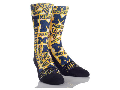 Michigan Wolverines Rock 'Em Logo Sketch Socks