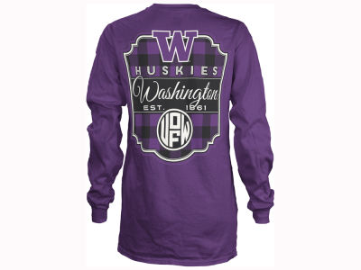 Washington Huskies Pressbox NCAA Women's Buffalo Plaid Long Sleeve T-Shirt