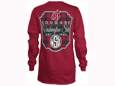 Washington State Cougars Pressbox NCAA Women's Buffalo Plaid Long Sleeve T-Shirt