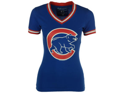 Chicago Cubs Red Jacket MLB Women's Eephus Vneck T-Shirt