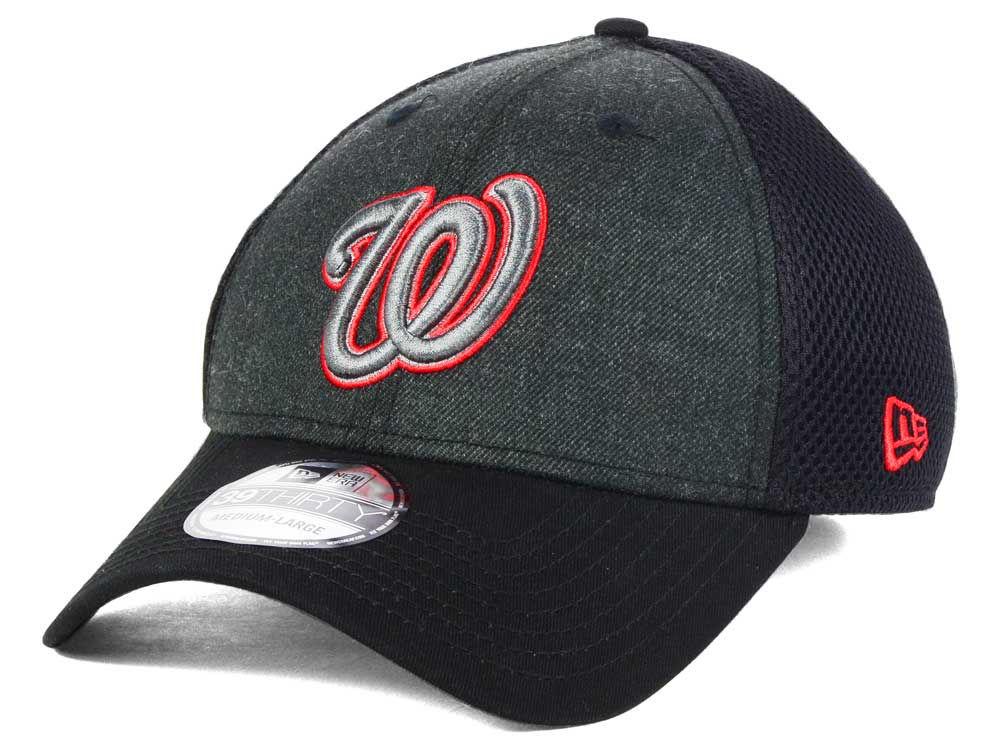 f03cede9d99 Washington Nationals New Era MLB Black Heathered Neo 39THIRTY Cap ...