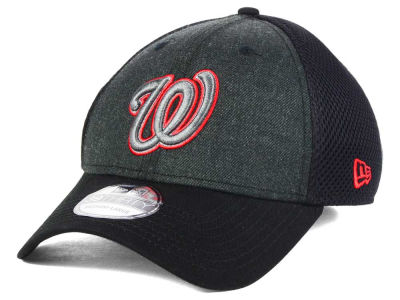 Washington Nationals MLB Black Heathered Neo 39THIRTY Cap