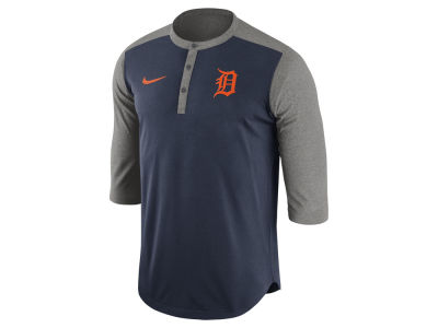 Detroit Tigers Nike MLB Men's Dri-Fit 3/4 Sleeve Henley T-Shirt