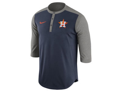Houston Astros Nike MLB Men's Dri-Fit 3/4 Sleeve Henley T-Shirt