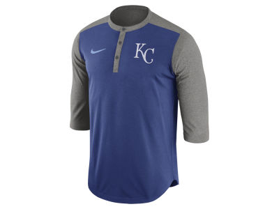Kansas City Royals Nike MLB Men's Dri-Fit 3/4 Sleeve Henley T-Shirt