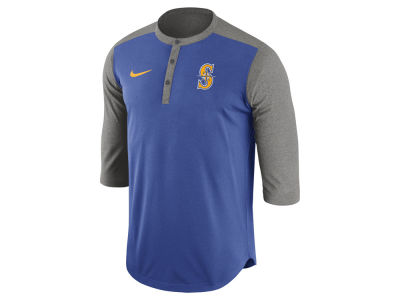 Seattle Mariners Nike MLB Men's Dri-Fit 3/4 Sleeve Henley T-Shirt