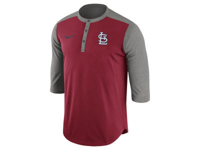 St. Louis Cardinals Nike MLB Men's Dri-Fit 3/4 Sleeve Henley T-Shirt