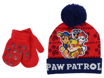 Nickelodeon Paw Patrol Toddler Boy's Paw Print Pom Knit Set