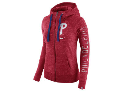 Philadelphia Phillies MLB Women's Gym Vintage Full Zip Hooded Sweatshirt