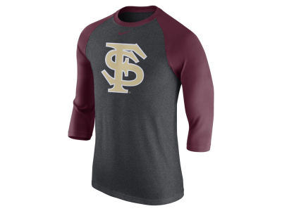 Florida State Seminoles Nike NCAA Men's Triblend Logo 3/4 Sleeve Raglan T-Shirt
