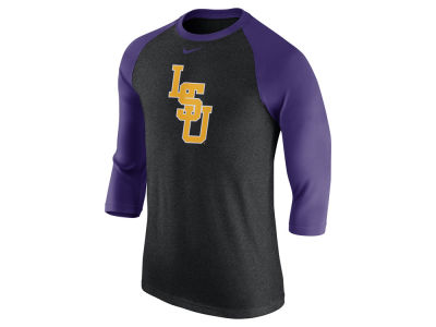 LSU Tigers Nike NCAA Men's Triblend Logo 3/4 Sleeve Raglan T-Shirt