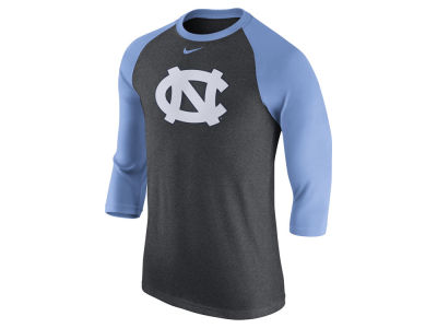 North Carolina Tar Heels Nike NCAA Men's Triblend Logo 3/4 Sleeve Raglan T-Shirt