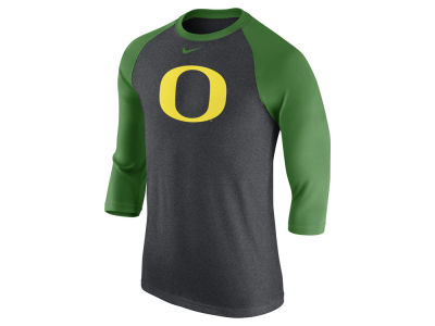 Oregon Ducks Nike NCAA Men's Triblend Logo 3/4 Sleeve Raglan T-Shirt