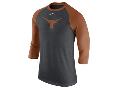 Texas Longhorns Nike NCAA Men's Triblend Logo 3/4 Sleeve Raglan T-Shirt