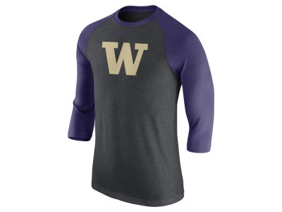 Washington Huskies Nike NCAA Men's Triblend Logo 3/4 Sleeve Raglan T-Shirt