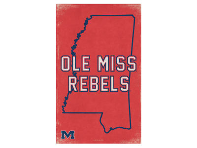 Ole Miss Rebels State Canvas Wall Art 16.5 x 16.5