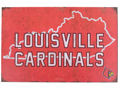 Louisville Cardinals State Tin Sign 11x17
