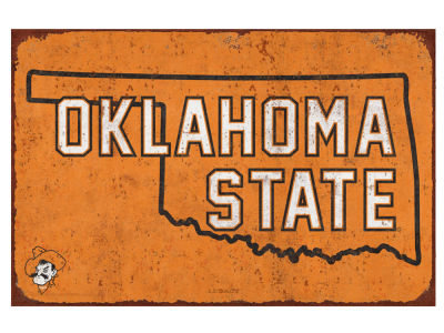 Oklahoma State Cowboys State Tin Sign 11x17