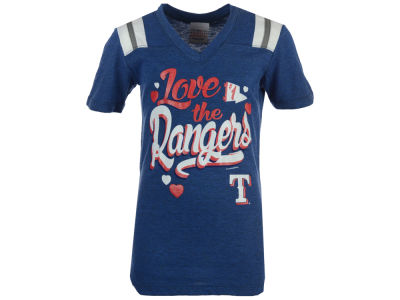 Texas Rangers MLB Girls Shoulder Stripe Glitter T-Shirt