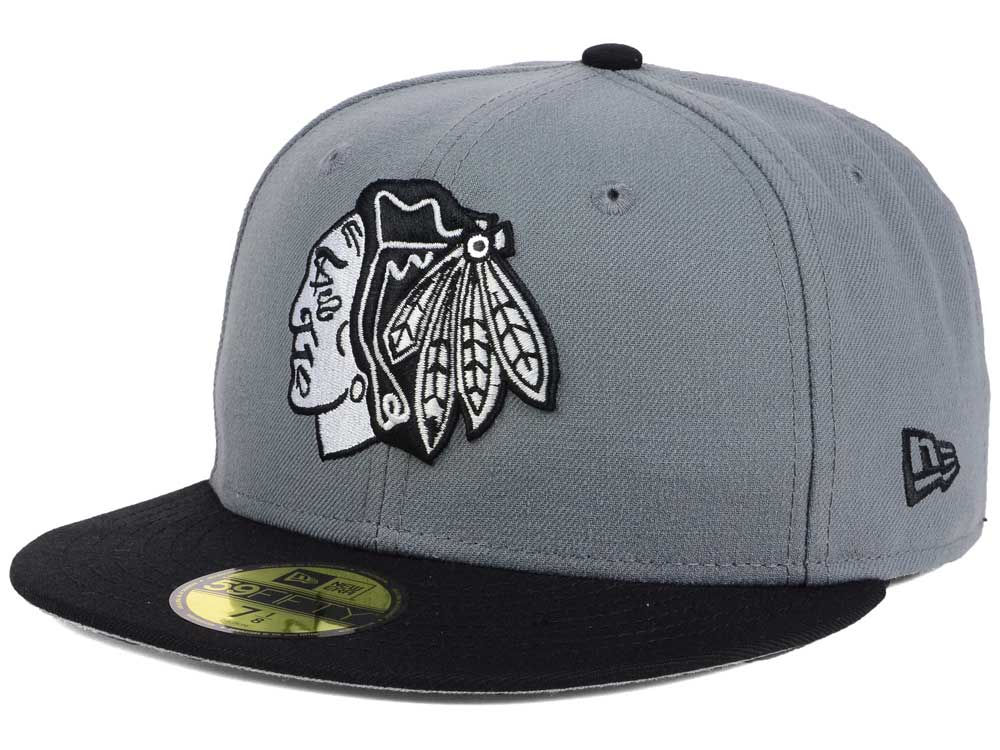 026c18f5cd6 low cost chicago blackhawks new era nhl gray black 59fifty cap ad5ce 64944