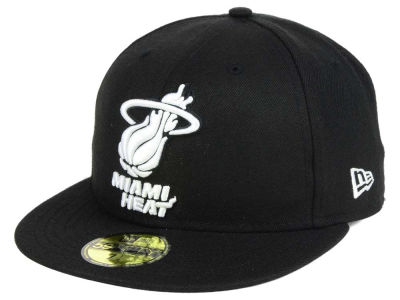 Miami Heat New Era NBA Black White 59FIFTY Cap