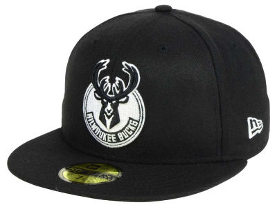 Milwaukee Bucks New Era NBA Black White 59FIFTY Cap