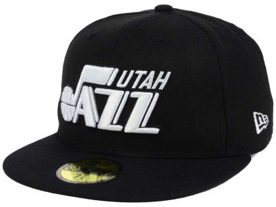 Utah Jazz New Era NBA Black White 59FIFTY Cap