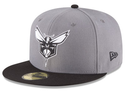 Charlotte Hornets New Era NBA 2-Tone Gray Black 59FIFTY Cap