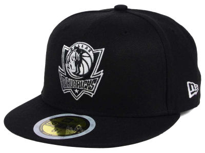 Dallas Mavericks New Era NBA Kids Black White 59FIFTY Cap