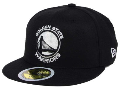 Golden State Warriors New Era NBA Kids Black White 59FIFTY Cap