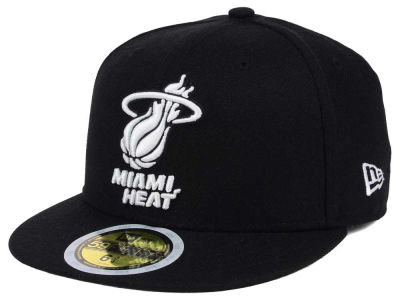 Miami Heat New Era NBA Kids Black White 59FIFTY Cap